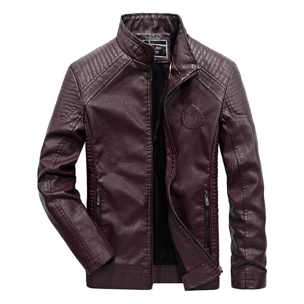 Autumn Men Plus Cashmere Leather Collar Motorcycle Suit Jacket - BURGUNDY 4XL