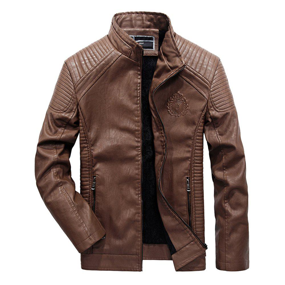 Autumn Men Plus Cashmere Leather Collar Motorcycle Suit Jacket - BROWN XL