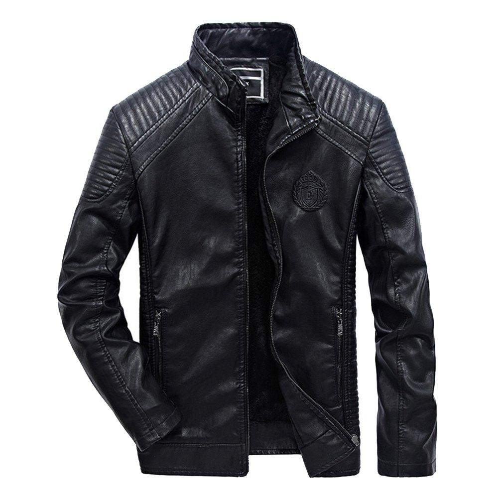 Autumn Men Plus Cashmere Leather Collar Motorcycle Suit Jacket - BLACK 2XL