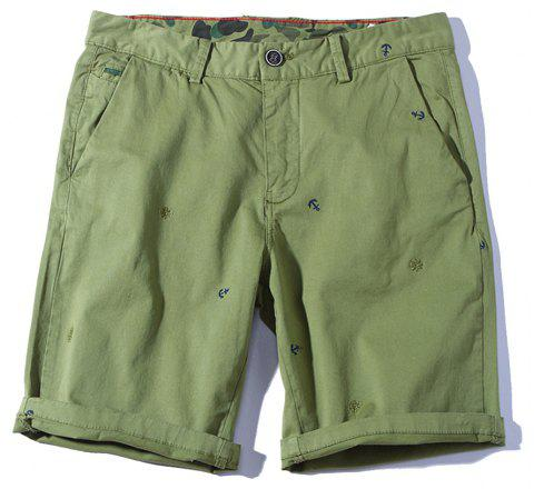 2018 Summer New Men Cotton Shorts Pantalons décontractés - Vert clair 36