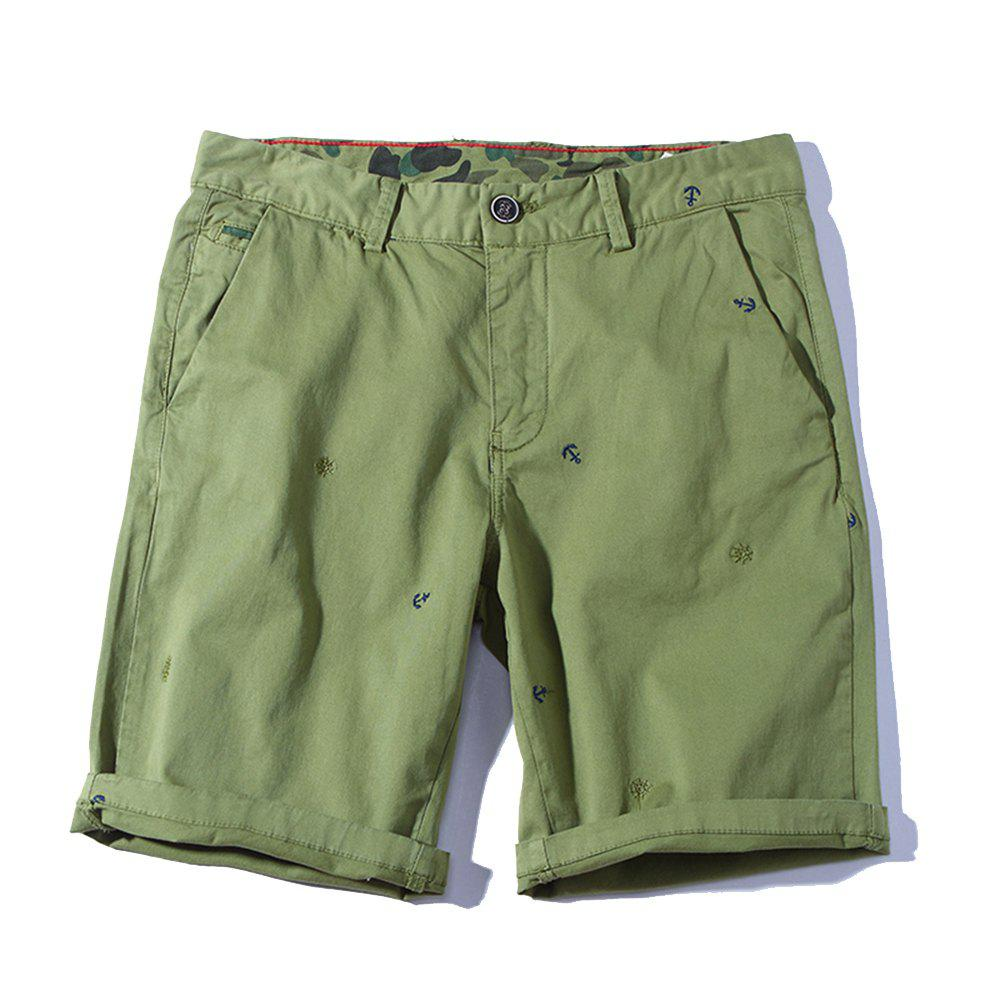 2018 Summer New Men Cotton Shorts Pantalons décontractés - Vert Clair 38