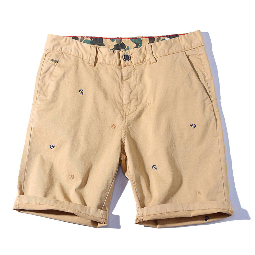 2018 Summer New Men Cotton Shorts Casual Pants - KHAKI 32