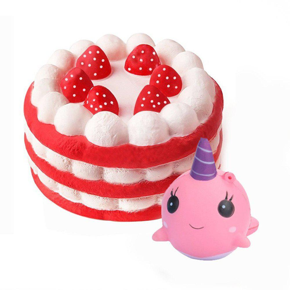 Jumbo Squishy Cake and Whale Scented Slow Rising Kawaii Toys for Kids 2PCS - COLORMIX