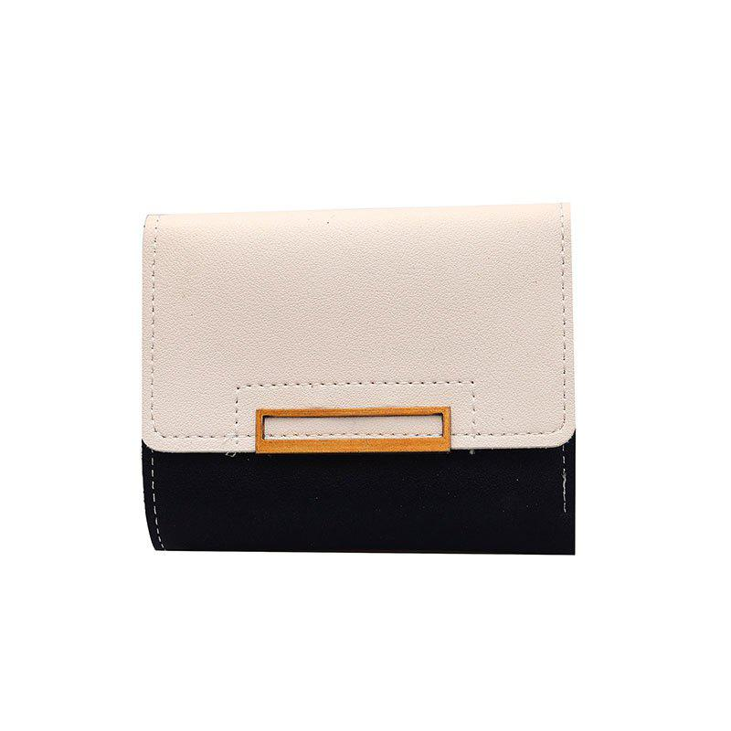 New Three Fold Wallet Female Short Paragraph - BLACK