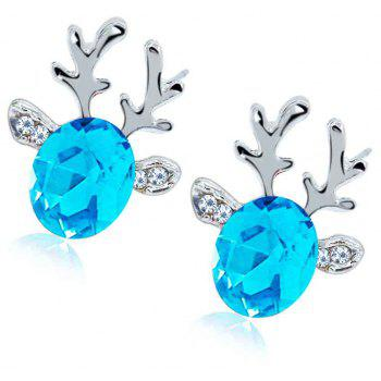 Luxurious and High-end Crystal Jewel Antler Earrings - BLUE