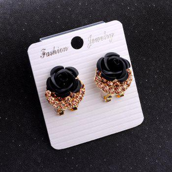 Fashion Korean Cute Five-Pointed Star Sweet Wild Temperament Earrings Rose Simple Stylish Earrings - BLACK