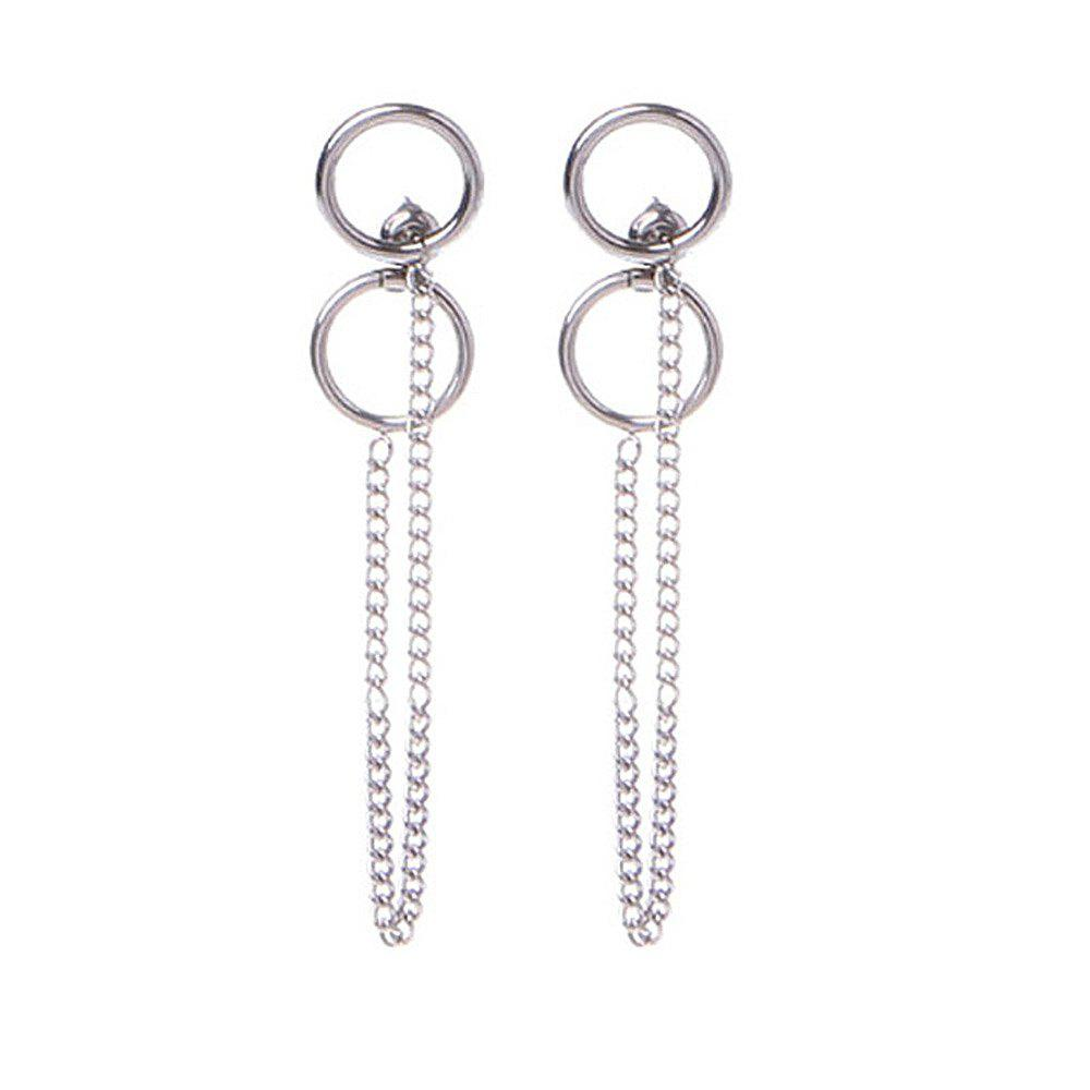 Fashion Korean Simple Titanium Steel Tassels Fashion Wild Temperament Earrings - SILVER
