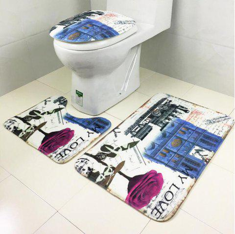 Toilet Carpet Bathroom Mattress Rose Tower Printing 3 Pieces - BLUE 50CM*80CM