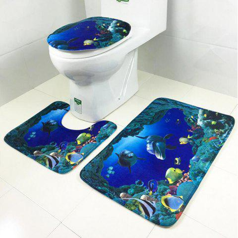 Toilet Carpet Bathroom Mattress Rose Tower Printing 3 Pieces - DEEP BLUE 50CM*80CM