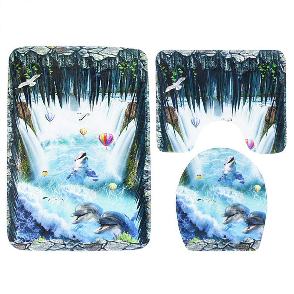 Three Pieces of Toilet Seat Cushion Suit for Toilet - DEEP BLUE 44*75CM