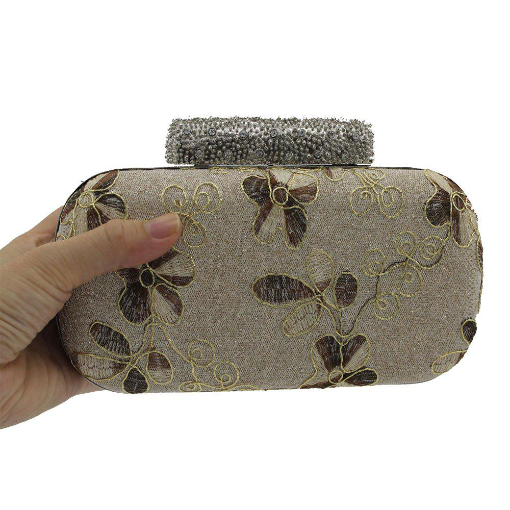 Evening Women Clutch Embroidering Wedding Bridal Handbag Lace Rose Fashion Rhinestone Bag - CHAMPAGNE HORIZONTAL