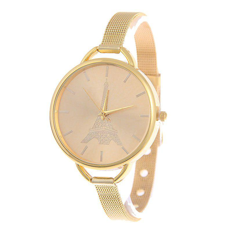Fashion Stainless Steel Tower Pattern Lady Quartz Watch - GOLD