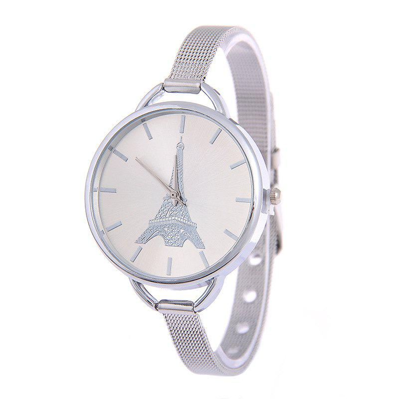 Fashion Stainless Steel Tower Pattern Lady Quartz Watch - SILVER