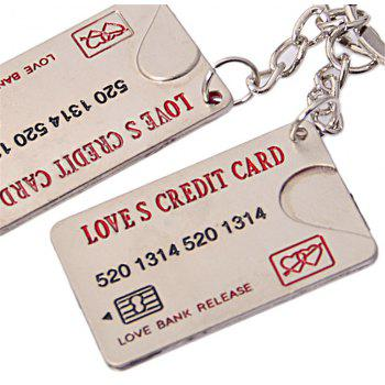 High quality Credit Card Couple Metal Creative Keychain 2PCS - SILVER