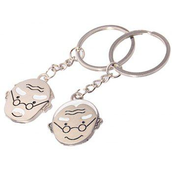 Hot High-quality Metal Father-In-Law Couple Key Ring 2PCS - SILVER