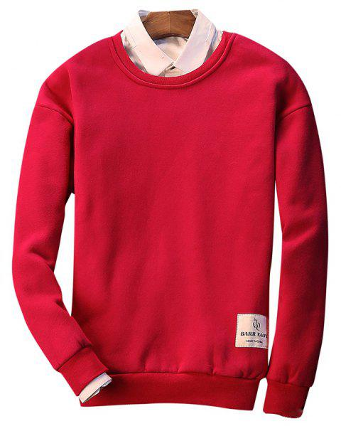 Letter Crew Neck Sweatshirt - RED L