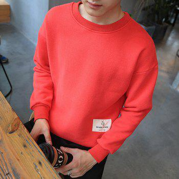 Letter Crew Neck Sweatshirt - RED M