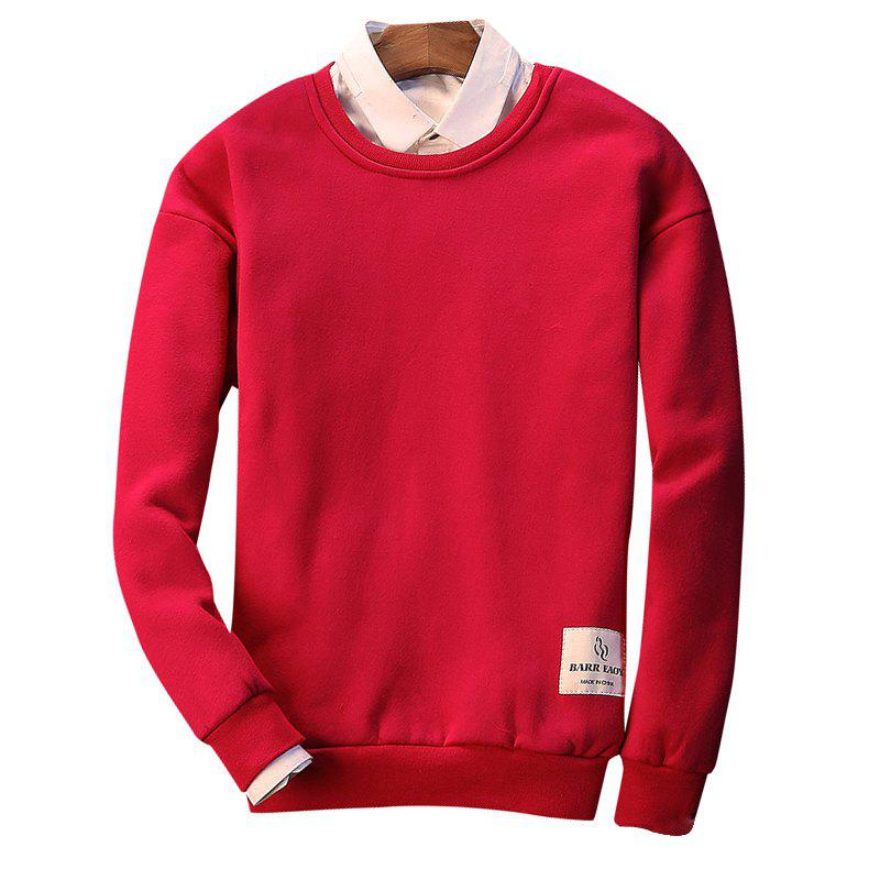 Letter Crew Neck Sweatshirt - RED 2XL