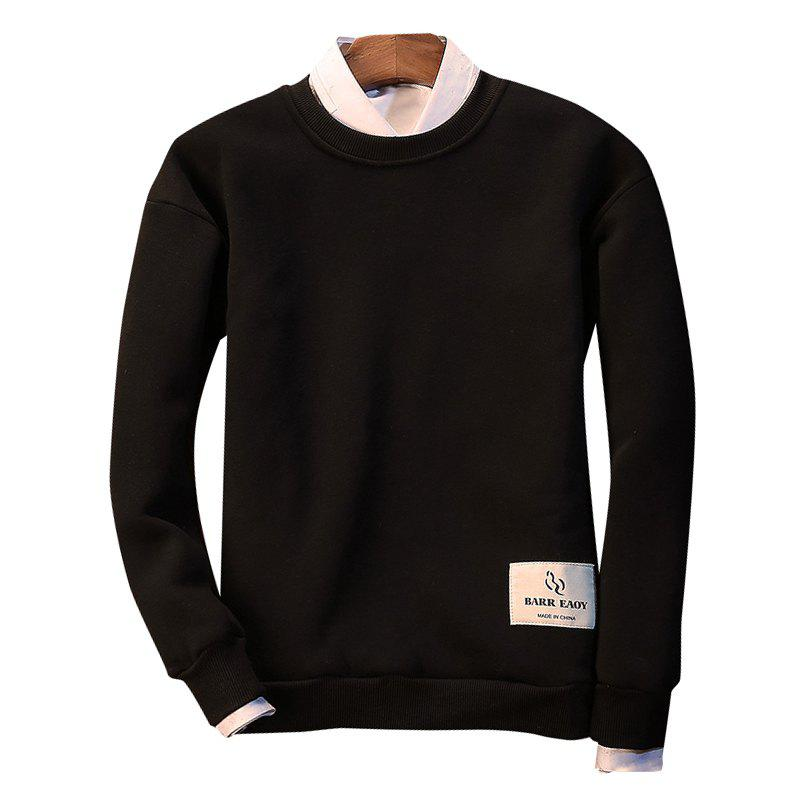 Letter Crew Neck Sweatshirt - BLACK M