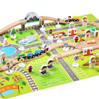 Urban Rail Transit Suits Scene Wooden Blocks Fancy Toy Train Orbit - COLORMIX