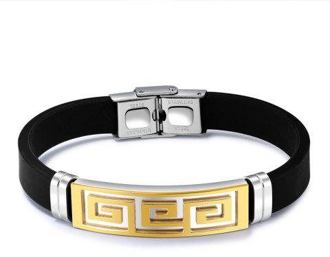 New Men'S Bracelet Stainless Steel Silicone Bangle - GOLDEN