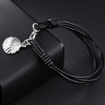 Fashion Men'S Bracelet Leather Braided Bangle - BLACK