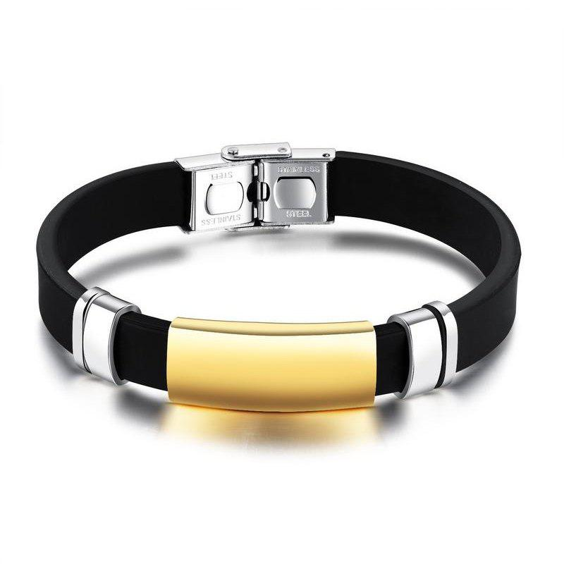 Fashion Men'S Bracelet Silica Gel Movement Bangle - GOLDEN