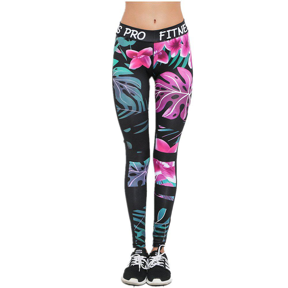 Compression Tight Gym Printed Yoga Pants for Women Legging - BLACK S