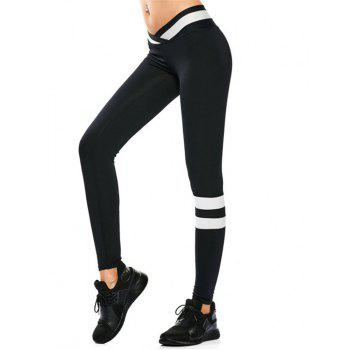 Breathable Women Elastane Yoga Pants Fitness Leggings - BLACK M