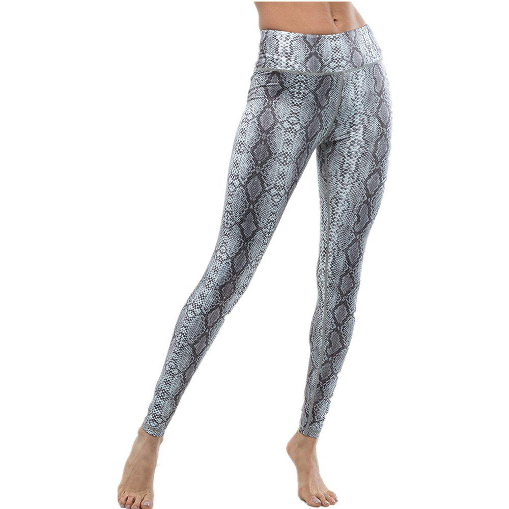 Fashion Hot Snake Skin Printed Tight Casual Sexy Leggings - GRAY L