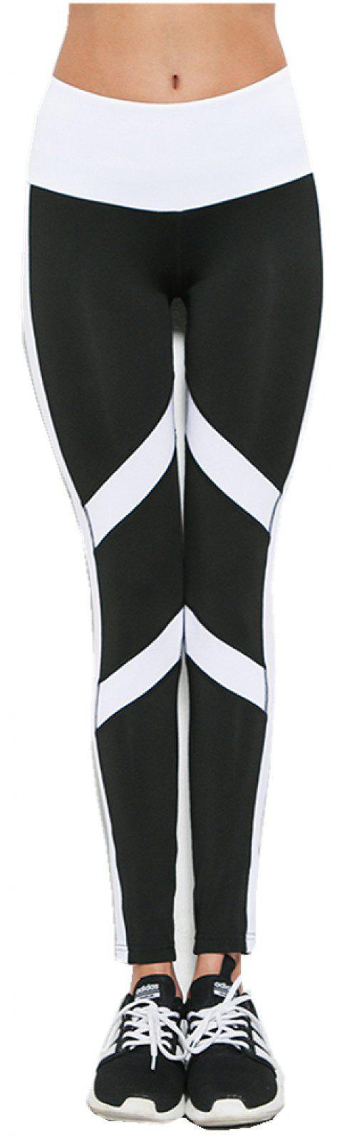 New Printed Striped Sportwear Fitness Yoga Woman Elastic Sexy Slimming Leggings Running Pants - BLACK WHITE M