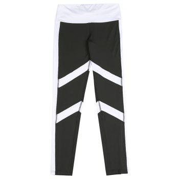 New Printed Striped Sportwear Fitness Yoga Woman Elastic Sexy Slimming Leggings Running Pants - BLACK WHITE L