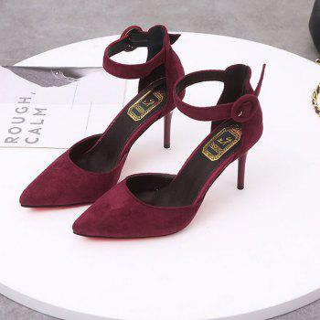 Spring New Pointed High Heels Single Shoes Suede Shallow Mouth - WINE RED 34