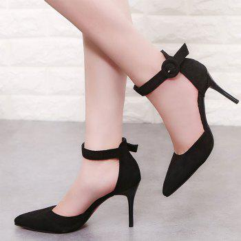 Spring New Pointed High Heels Single Shoes Suede Shallow Mouth - BLACK 38
