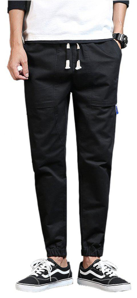 Spring and Autumn New Trend Fashionable Men's Trousers - BLACK XL