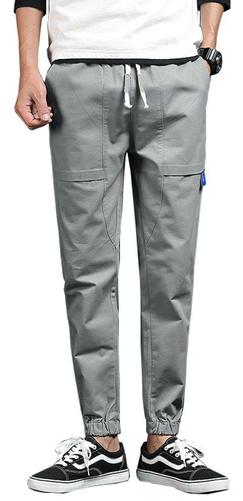 Spring and Autumn New Trend Fashionable Men's Trousers - GRAY XL