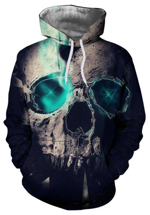 Fashion Blue Skull 3D Printed Men's Long-Sleeved Hoodie - multicolor X 2XL