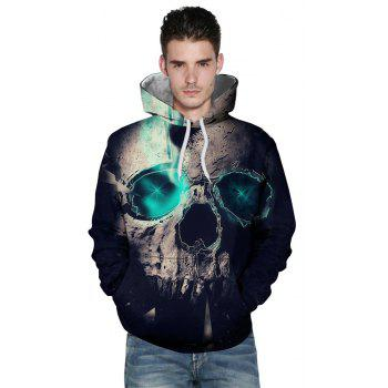 Fashion Blue Skull 3D Printed Men's Long-Sleeved Hoodie - BLUE 2XL