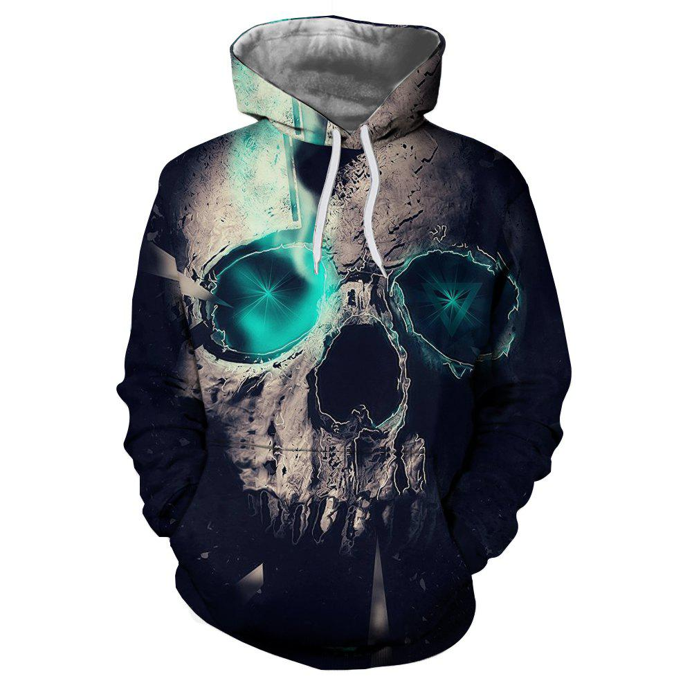 Fashion Blue Skull 3D Printed Men's Long-Sleeved Hoodie - BLUE S