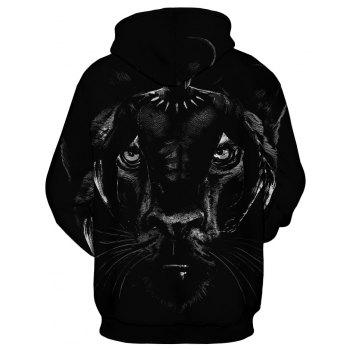 2018 New Fashion Panther 3D Printing Men's Long-Sleeved Hoodie Personalized Design - BLACK XL