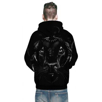 2018 New Fashion Panther 3D Printing Men's Long-Sleeved Hoodie Personalized Design - BLACK M