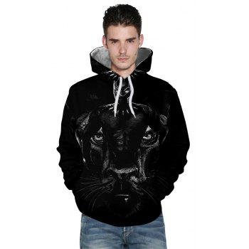 2018 New Fashion Panther 3D Printing Men's Long-Sleeved Hoodie Personalized Design - BLACK 2XL