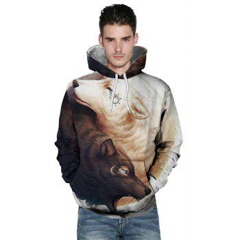 2018 New Yin and Yang Wolf 3D Printing Men's Hoodie - WHITE/BROWN 2XL