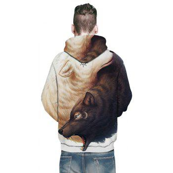 2018 New Yin and Yang Wolf 3D Printing Men's Hoodie - WHITE/BROWN L