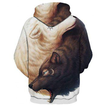 2018 New Yin and Yang Wolf 3D Printing Men's Hoodie - WHITE/BROWN S