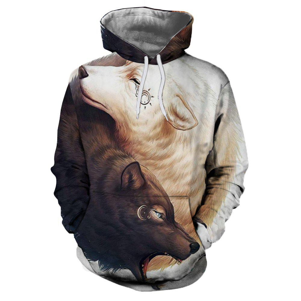 2018 New Yin and Yang Wolf 3D Printing Men's Hoodie - WHITE/BROWN 5XL