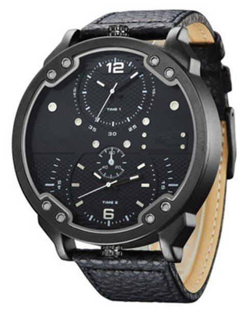 Sports Men Quartz Analog Date Leather Military Waterproof Watch - BLACK