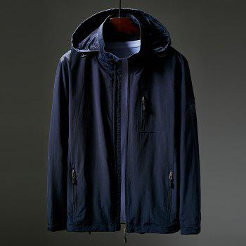 Hooded Zip Up Jacket - CERULEAN 2XL