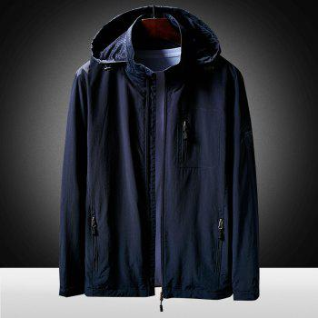 Hooded Zip Up Jacket - CERULEAN 4XL