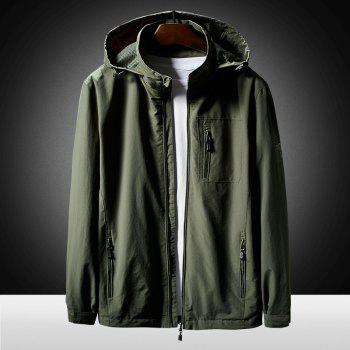 Hooded Zip Up Jacket - ARMYGREEN L